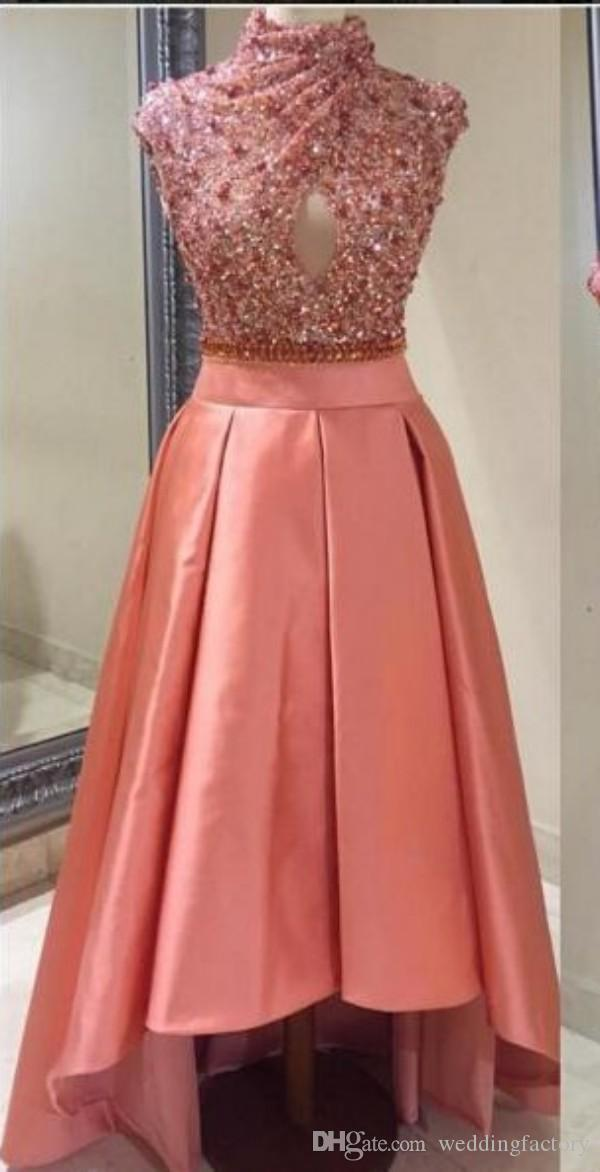 Salmon Color High Low Prom Dresses High Neck Capped Sleeveless Crystals Sequins Top Prom Dress Cut Out Evening Party Formal Gowns