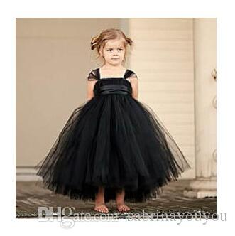2ee03565422 2019 2017 New Tutu Black Baby Bridesmaid Flower Girl Wedding Dress Tulle  Fluffy Ball Gown USA Birthday Evening Prom Cloth Party Dress From  Sabrinayouyou