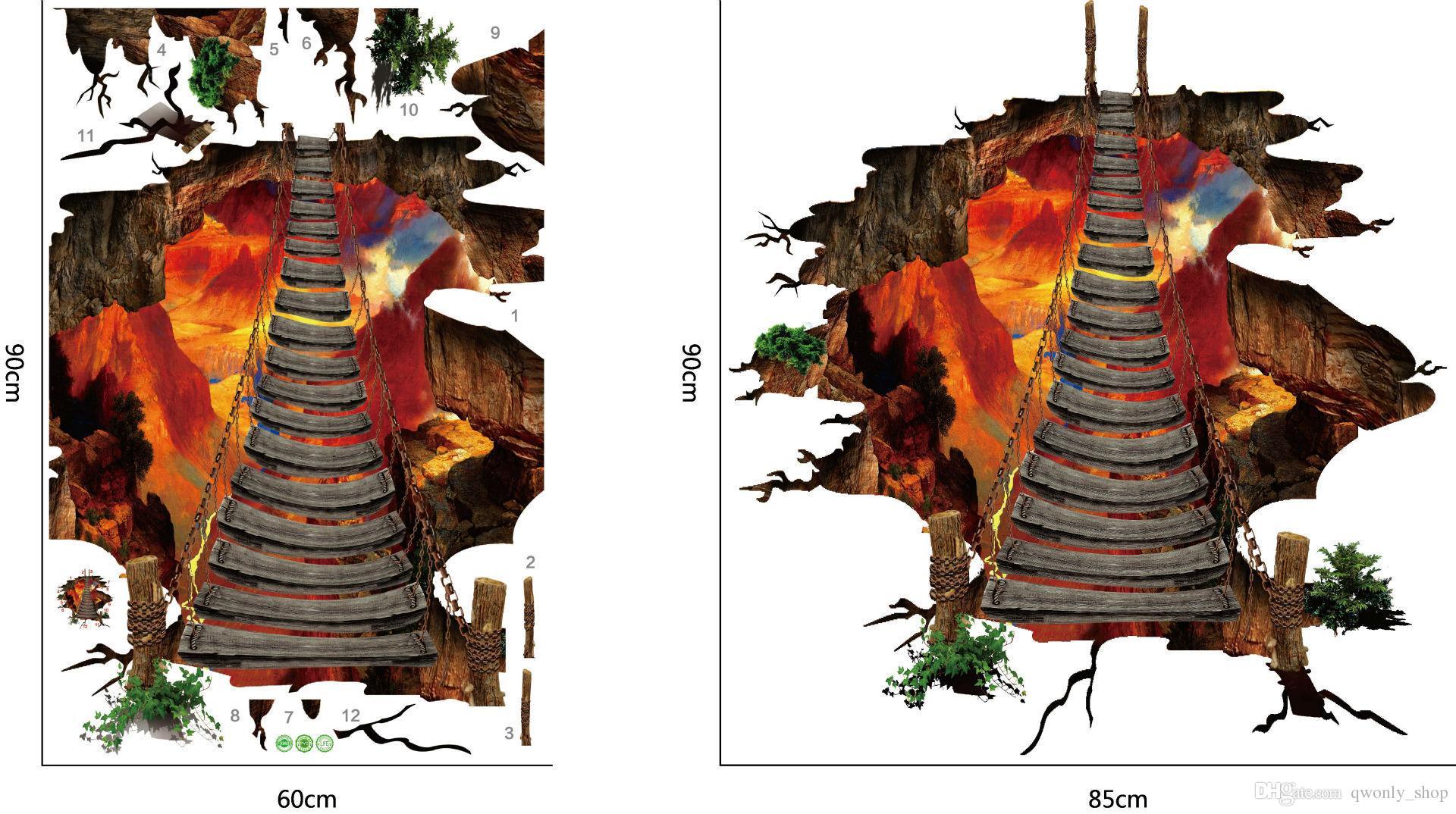 2styles 3D Pegatinas de Piso Volcanic Magma Crack Decal DIY Pegatinas de Pared Desmontable Dormitorio Sala de estar Pasillo Fondo Decoración