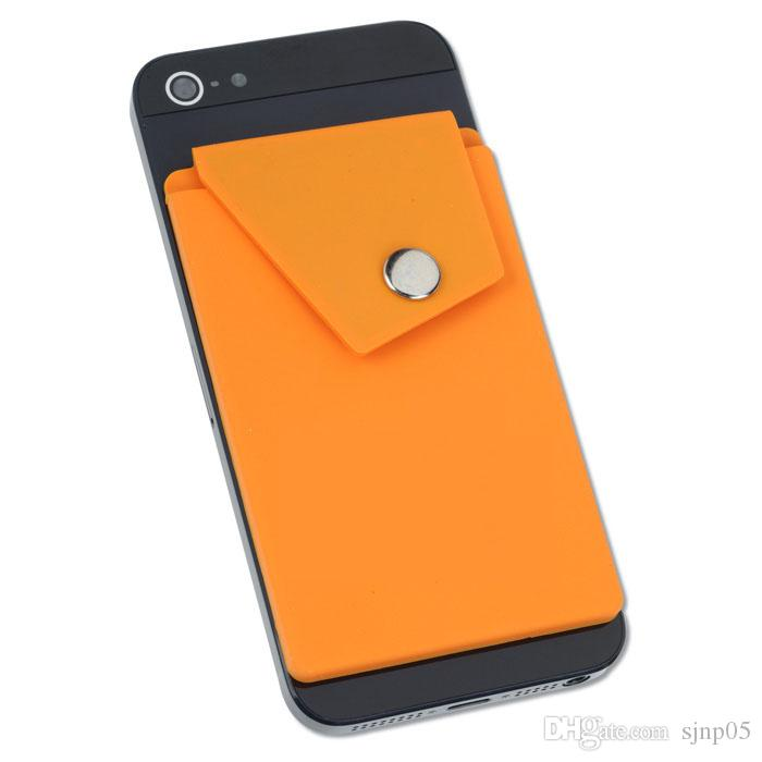 Adhesive Silicone Phone Wallet with Snap Pocket Phone Back Stick-on Credit Card Holder with Stand for Smart Phone Random Color Wholesale
