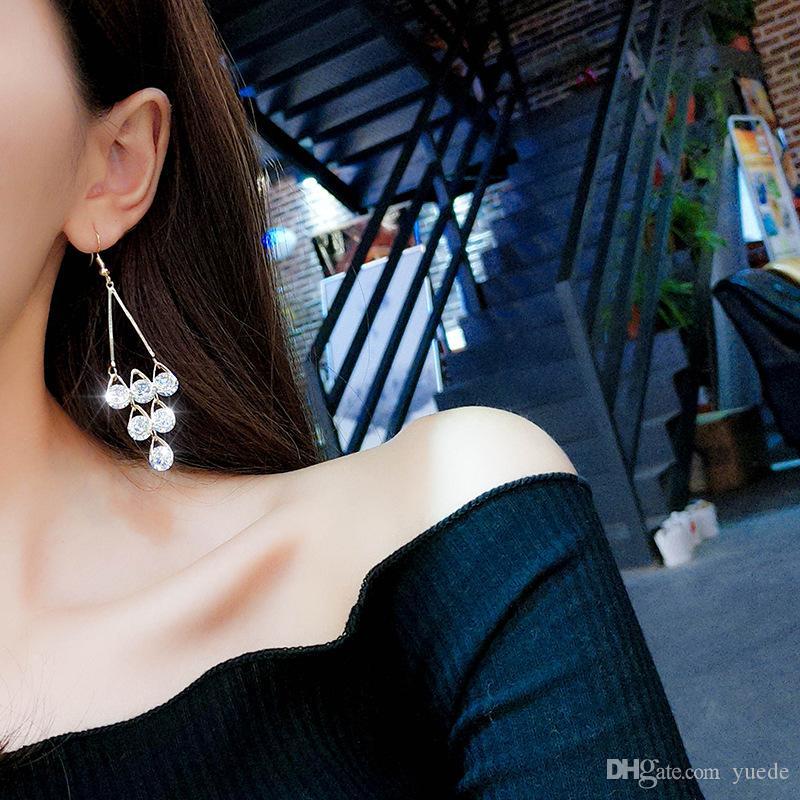 شرابة سوبر فلاش الزفاف الأزياء والمجوهرات هندسية الماس المضادة للحساسية ندفة الثلج وأقراط للنساء بلورات من سواروفسكي