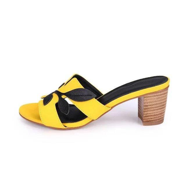 Yuf09 Fashion Leaves Nubuck Leather Sandals Outdoor Travel Chunky High Heel Slippers Casual Loafers Lady Women Shoes Sz 35-41