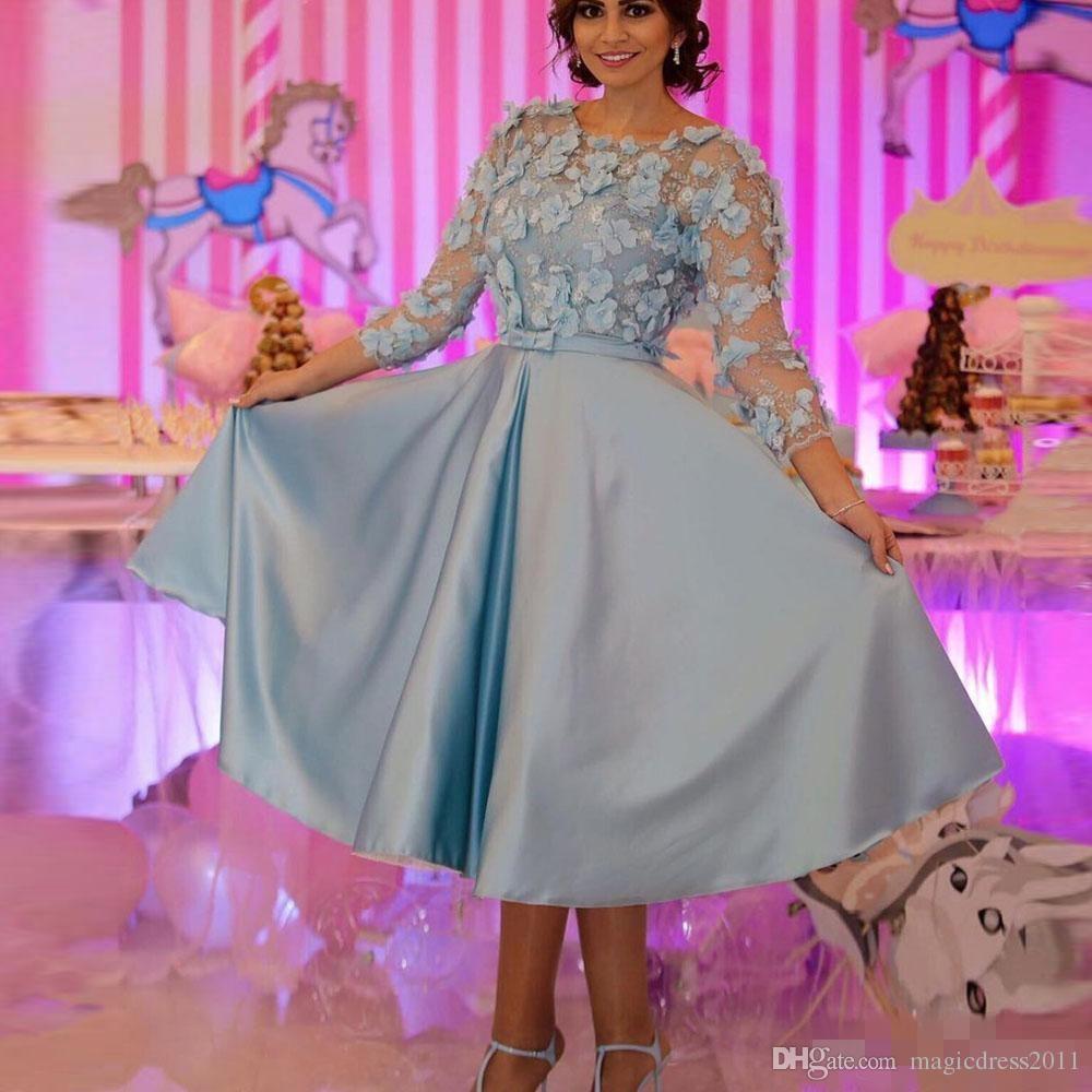 Bleu ciel 3D Fleur Robe De Soirée Formelle Trois Manches Théière Longueur Robe De Soirée De Bal Dentelle Vintage Robes De Soirée 2019 Abendkleider