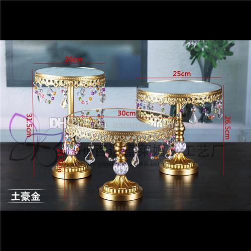 Conjunto de 3 peças de bolo de ouro stand casamento cupcake stand set vidro top cristal candy bar decoração ferramentas bolo bakeware