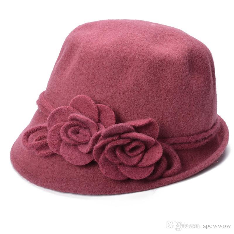 Womens retro laine cloche seau pliable soft tricot bowler côté deux rouleau de fleurs chapeaux de bord a466