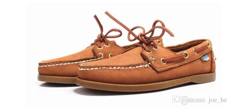 الجملة الرجال من جلد الغزال حقيقي سيدر المتسكعون قارب أحذية رجالي الأزرق الجلد المدبوغ قارب المتسكعون الأحذية الجلدية المصنوعة يدويا عارضة أحذية حجم كبير
