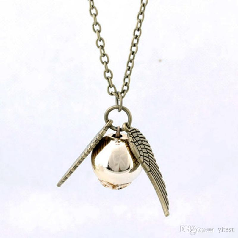 Nuevo estilo Harry Silver Wings Pear Necklace Snitch Gold Colgante de joyería para hombres Golden Snitch Wings Necklace Golden wholesale al por mayor Envío gratuito