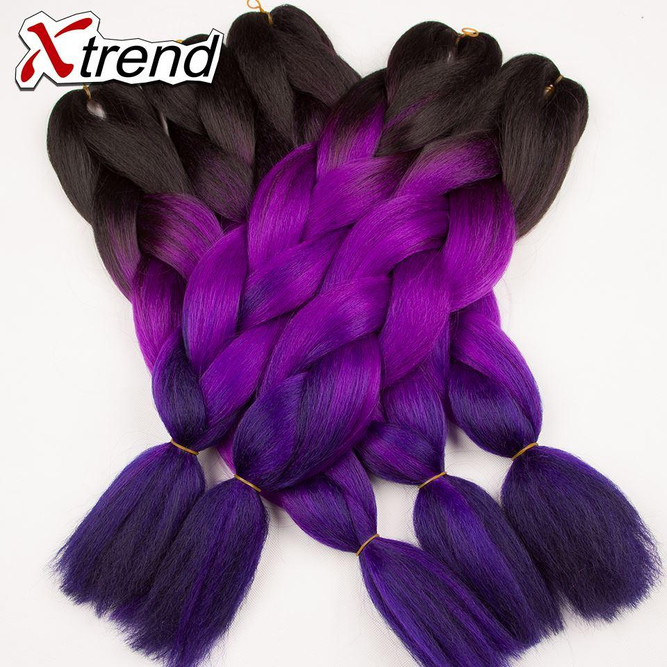 New Xtrend 24inch60cm Colored Hair Extensions Multi Color Synthetic