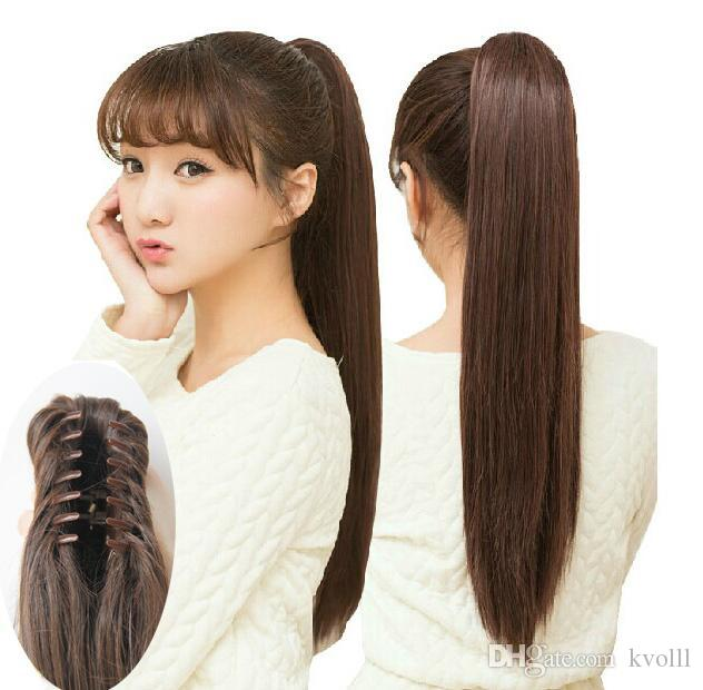 Women 's Claw clip straight ponytail long straight hair tail tails pony tail horsetail long straight hair cauda equina wig