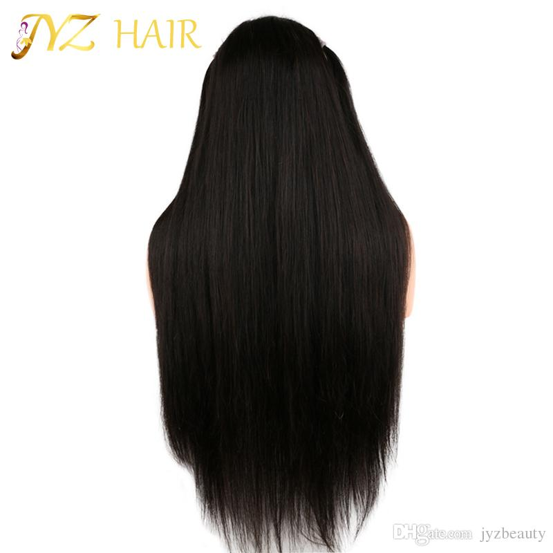 JYZ Brazilian Silky Straight Lace Front Human Hair Wigs For Black Woman 130 Density Glueless Full Lace Wigs with Baby Hair Natural Hairline