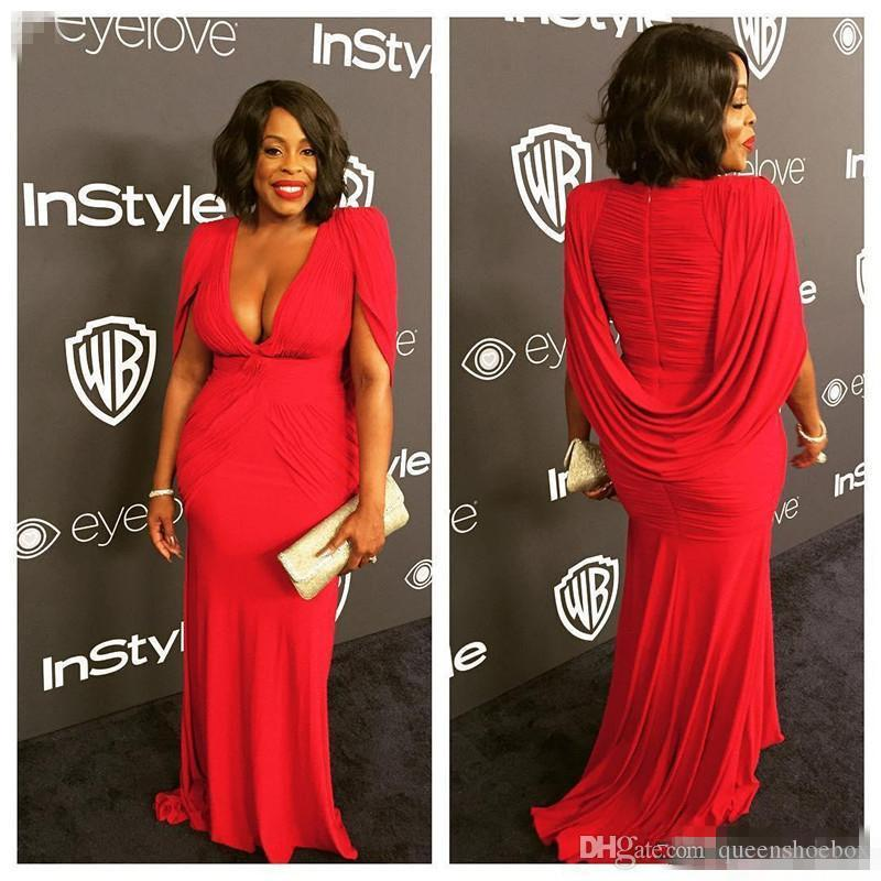 .Niecy Nash Plus Size Red Golden Globe Red Carpet Evening Gowns With Cape  Mermaid Chiffon Deep V Neck 2017 Women Formal Celebrity Dress Chea Dresses  ...