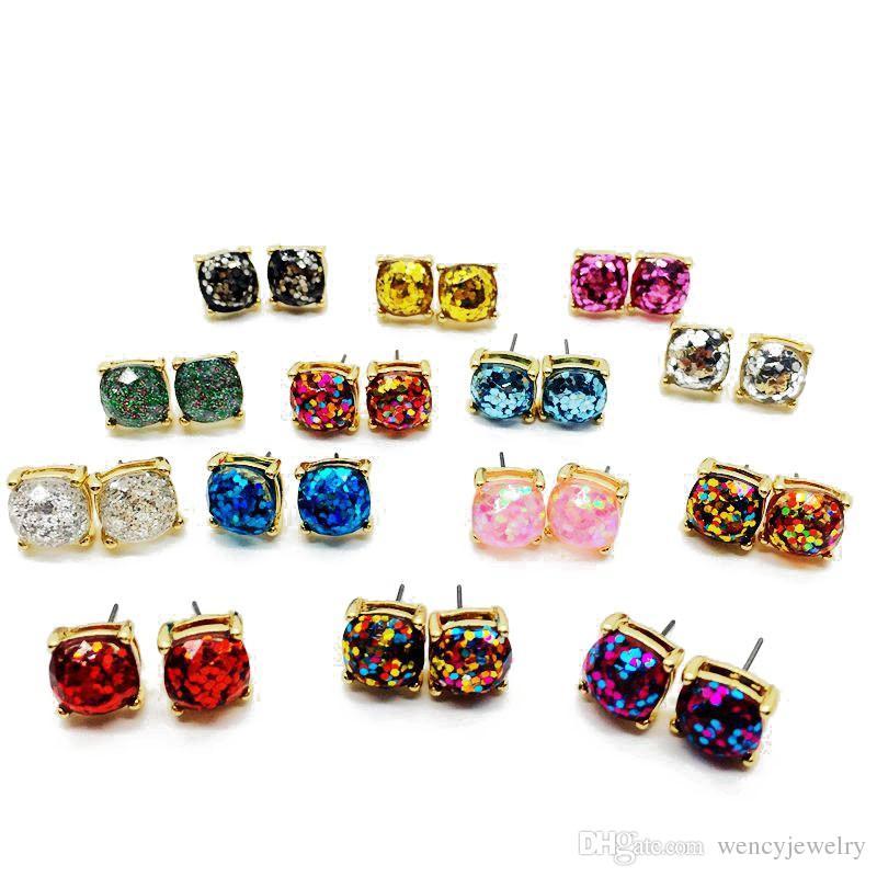 Simple Square Glitter Sweet Boucles d'oreilles Steint, fête mignonne élégante plus de couleurs usine en gros accessoires modernes pour femmes filles