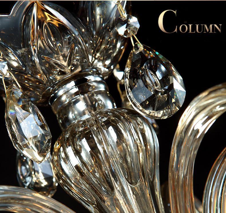 15 armas de araña de cristal de luz de lujo moderno de cristal de la lámpara champage iluminación de la lámpara de cristal K9 Top
