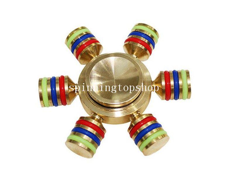 Altıgen El Spinner Altı Açı Alüminyum Parmaklar Spiral Parmaklar Gyro Torqbar Fidget Perakende Kutusu Ile 6 Kafaları Ile El Spinner