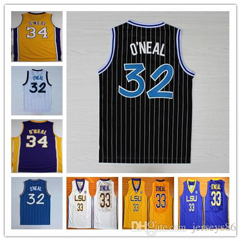 11308b45817b ... 32 Shaquille ONeal Jersey 34 Yellow Purple Black White Stripe College  33 Shaquille ONeal Basketball Shirts ...