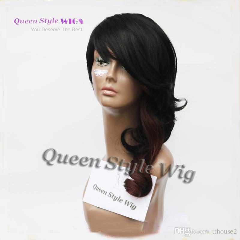 새로운 유명 인사 리안 비대칭 헤어 스타일 가발 합성 짧은 블랙 브라운 컬러 아프리카 계 미국인 파티 가발 여성을위한 블랙
