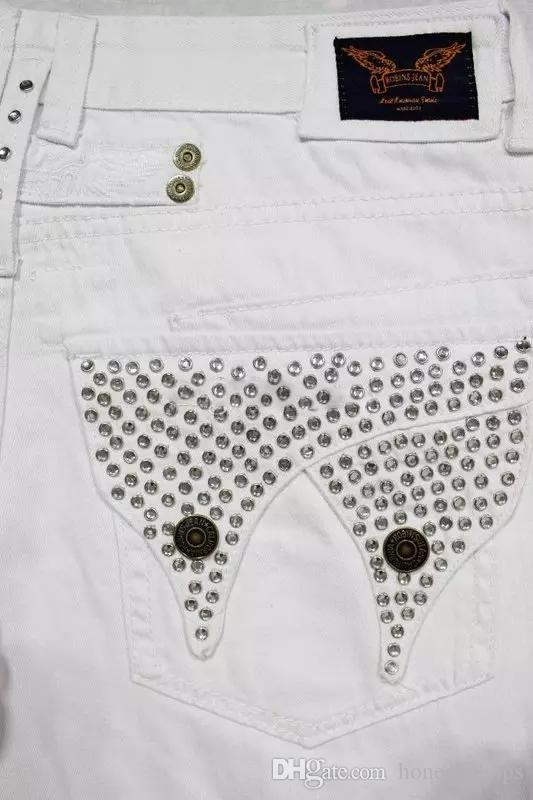 2016 Nuevos pantalones vaqueros del petirrojo para los hombres rectos rectos masculinos de los vaqueros del vaquero diseñador de alta moda famosa marca mens pantalones vaqueros de la bandera americana blanca