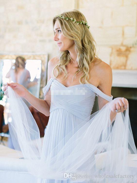 Venda pregas céu azul bobo bobo vestidos de dama de honra com mangas de tampa querida backless longos vestidos de dama de honra casamento vestidos de convidado para venda 2018