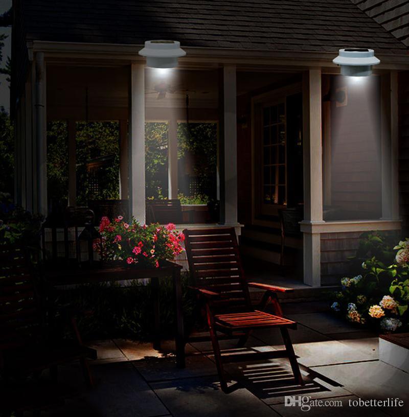 3 LED solaire alimenté lumières extérieures jardin cour mur allée clôture gouttière lampe lumière escalier éclairage décorations de la maison