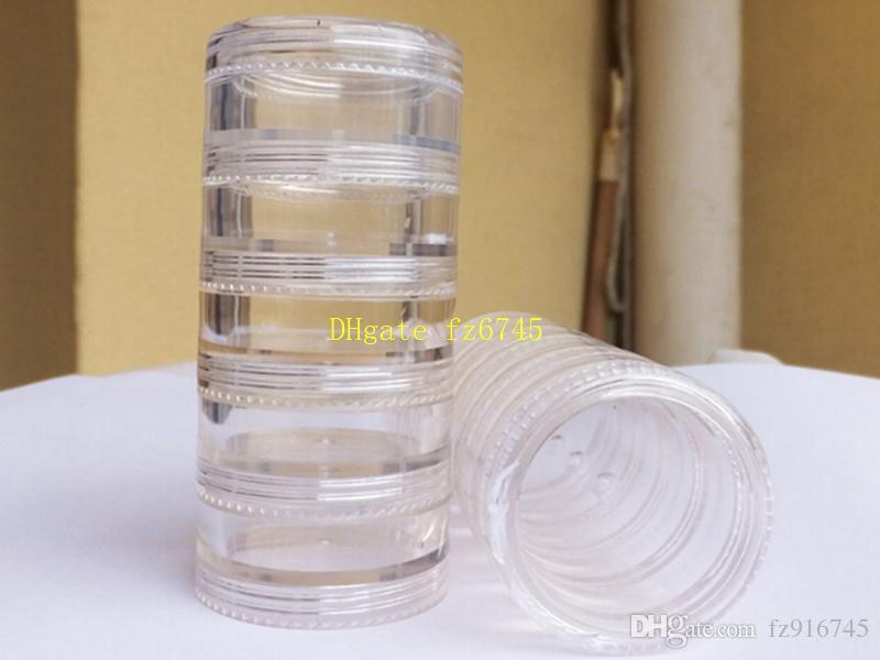 1000 قطع 5 جرام 5 ملليلتر صغيرة مستديرة عينة كريم زجاجة الجرار حاوية حاوية بلاستيكية مصغرة لمسمار الفن تخزين diy زجاجات البلاستيك ps 5 طبقات