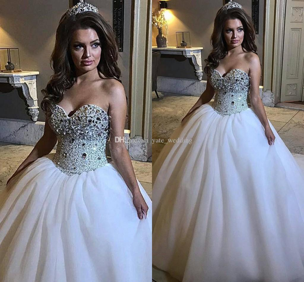 2018 Luxury Ball Gown Wedding Dresses Sweetheart Crystal Tulle Plus ...