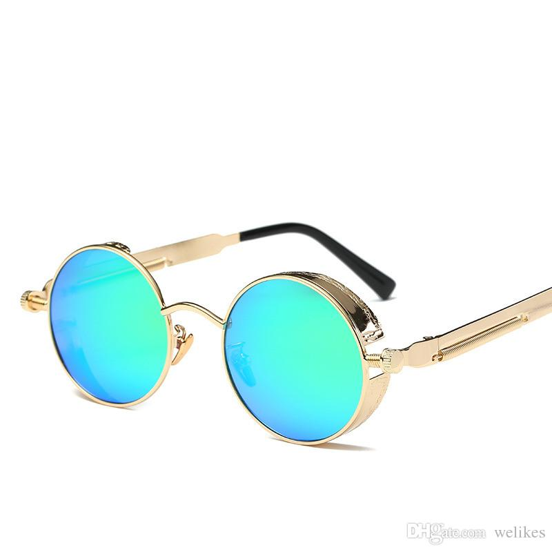 41eff70942 2019 Gothic Steampunk Mens Sunglasses Coating Mirrored Sunglasses Round  Circle Sun Glasses Retro Vintage Gafas Masculino Sol From Welikes