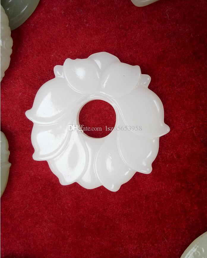 Оптовая нефрит цветок белый нефрит подвески для ювелирных изделий ожерелье мужчины и женщин ювелирные изделия натуральный нефрит цветок бесплатная доставка A11S1S30