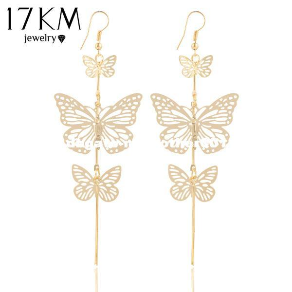 4daf0cc95e9 2019 17KM New Fashion Gold Color Alloy Double Bow Butterfly Drop Earrings  Jewelry Hollow Flower Long Tassels Earring From Mymother001