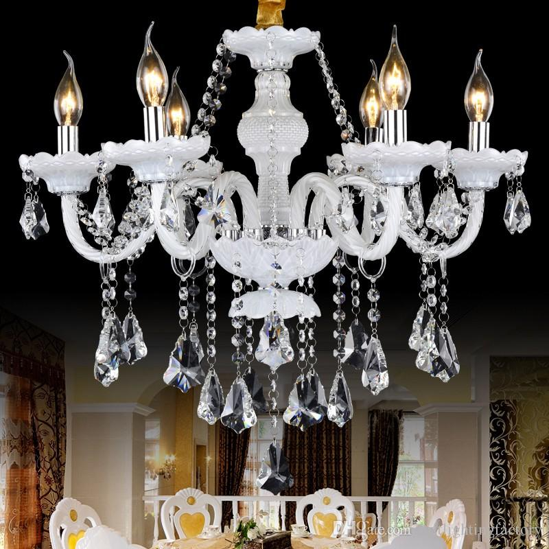 living room bedroom study crystal chandelier French romantic crystal chandeliers lamp 8 lights handmade glass art shade maria theresa lights