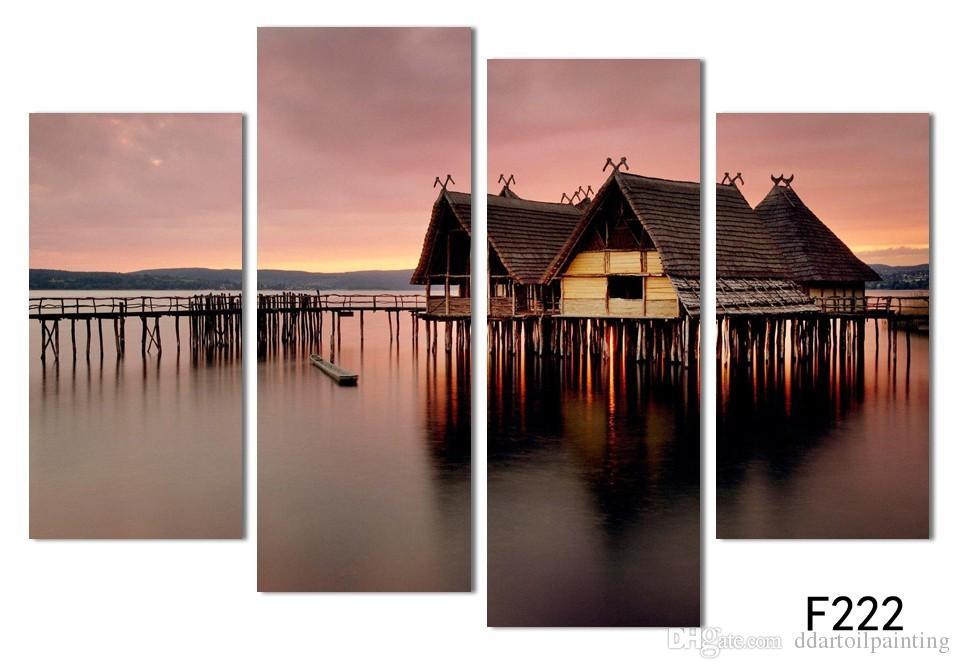 Wholesale New 4 pçs / sets de vista para o mar casa pintura de parede pôr do sol belas seascape pictures unframed para decoração de casa frete grátis