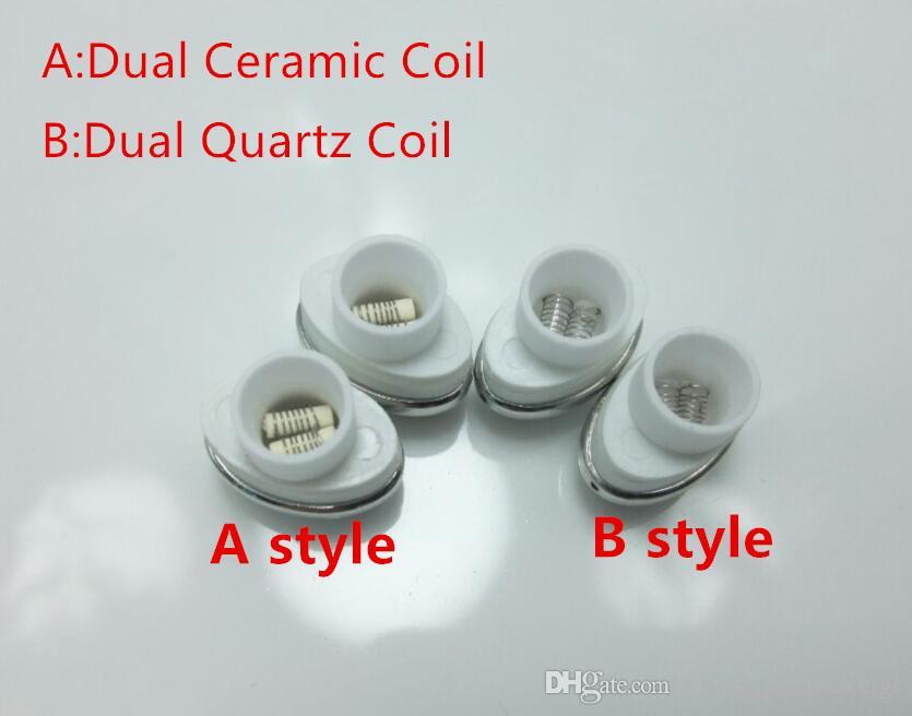 10pcs Quartz Wax Ceramic Dual Coil Replacement Core Atomizer For Wax  Vaporizer Pen Quartz Rod for Elips Cloud Pen free shipping