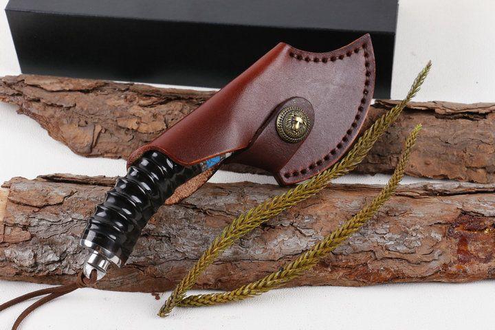High Quality Damascus Ax Knife Gazelle Horn Maniglia all'aperto Camping Escursionismo Caccia Pesca Sopravvivenza Gear WTIH Guaina in pelle