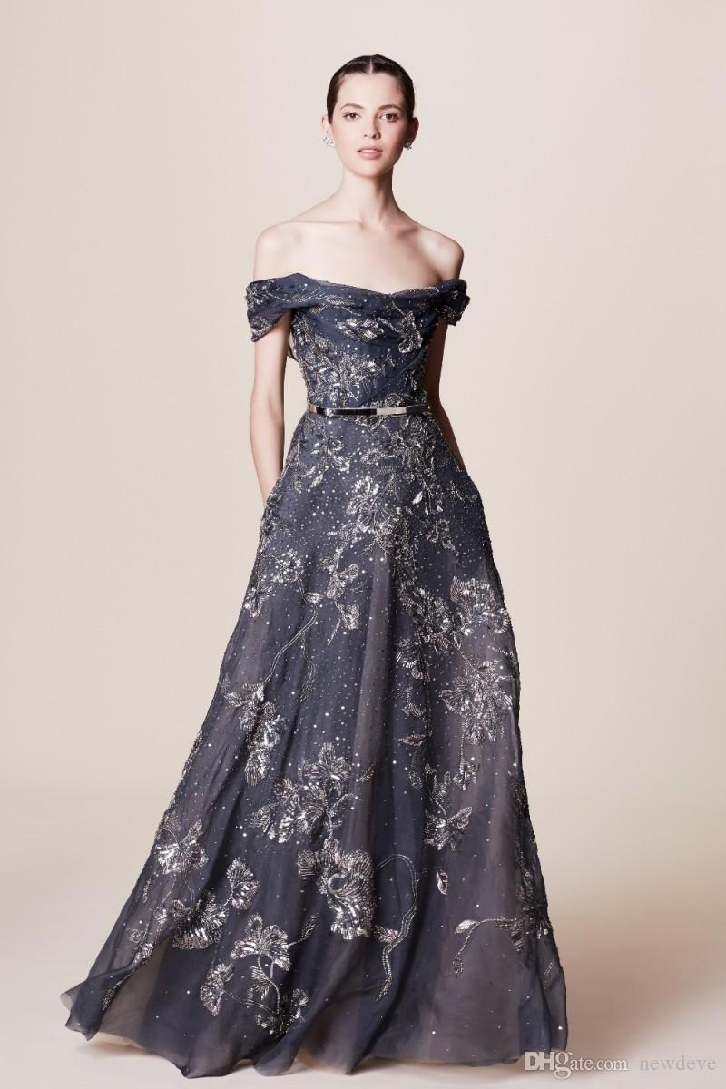 Beaded Applique Evening Gowns Off Shoulder Prom Dress Marchesa ...