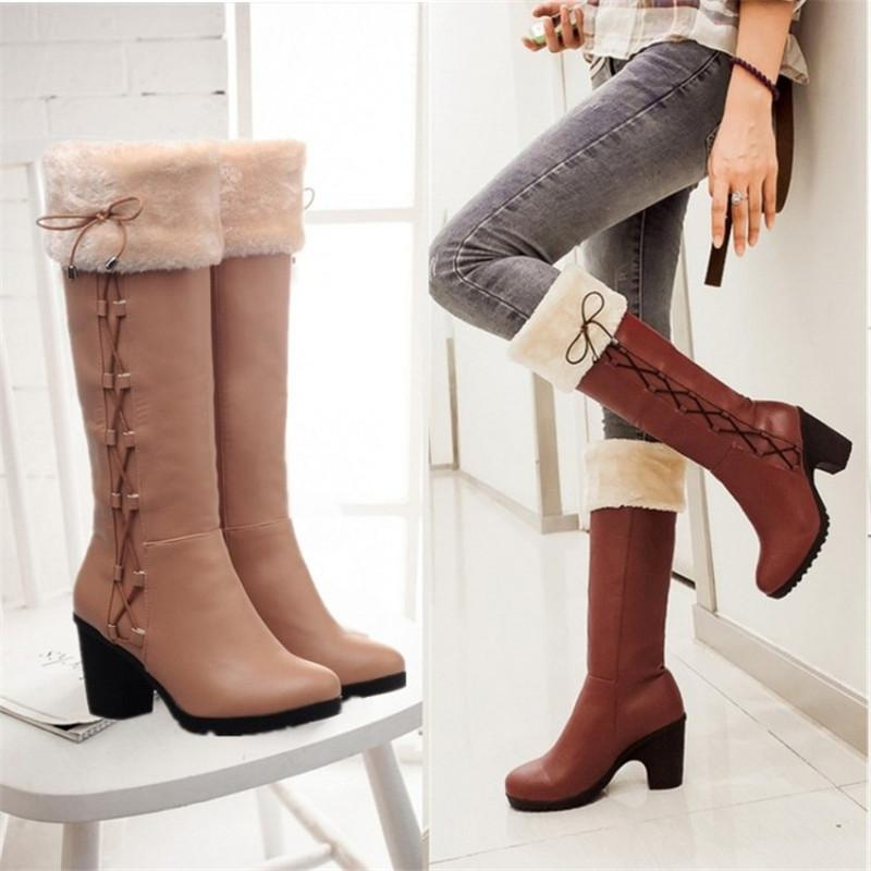 edb79baabff Al por mayor-invierno botas de mujer botas de nieve zapatos de piel para  mujer rodilla botas altas Bowtie zapatos de tacón grueso negro marrón  grande tamaño ...
