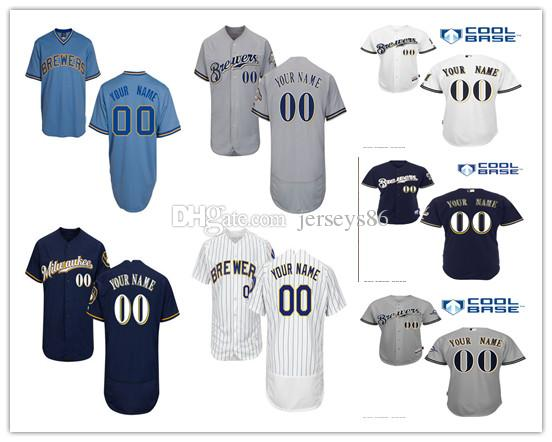 136bcbcd7 ... Cool Base Custom Jersey Customized 2017 Mlb Milwaukee Brewers Mens  Jerseys Baseball Any Name Any Number Thrpwback Blue White Grey ...