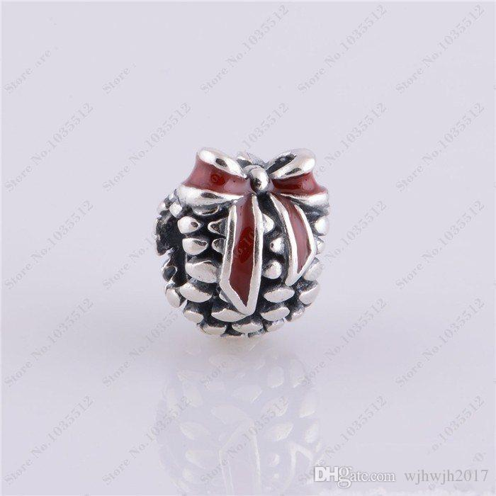 New Christmas Day Red Enamel Pine Cone Charms 925 Sterling Silver Brand women Fine Jewelry Fits Charm Bracelets & Bangles Making HB417