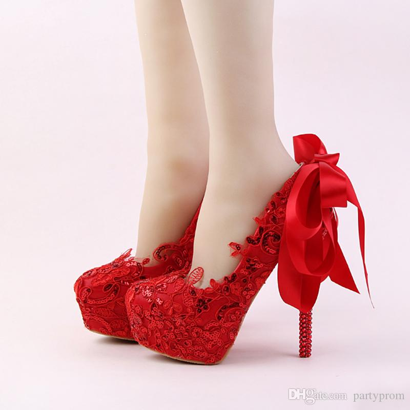 17831e33d130 Handmade Red Lace Bride Shoes Fashion Glitter Stiletto Heel Wedding Dress  Shoes With Ribbon Bow And Rhinestone Heel Women Pumps Bridal Shoes Auckland  Bridal ...
