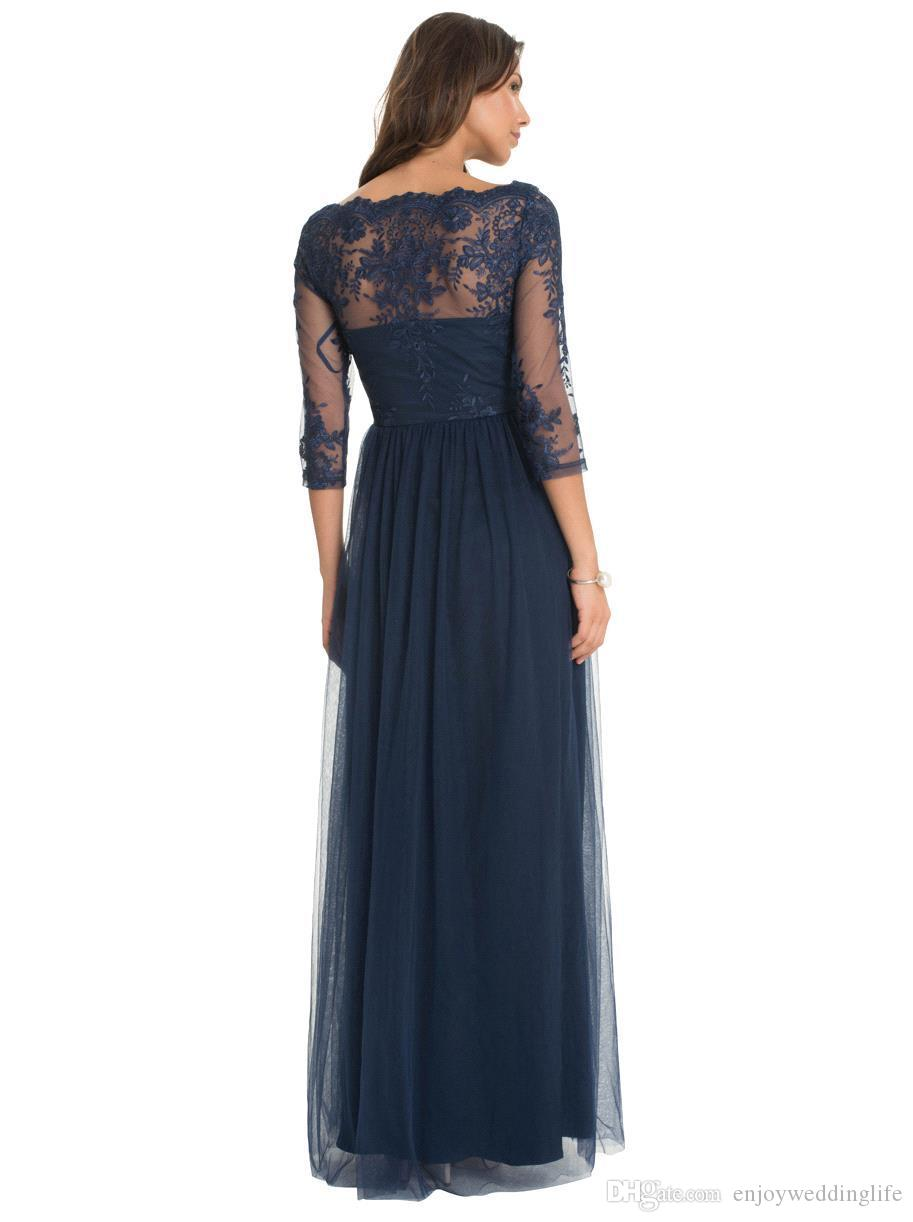 Mörk Navy Elegant Sheer Långärmad Mor till bruden Klänningar Lace Appliques A Line Tulle Long Aftonklänningar Custom Made Mother Dresses