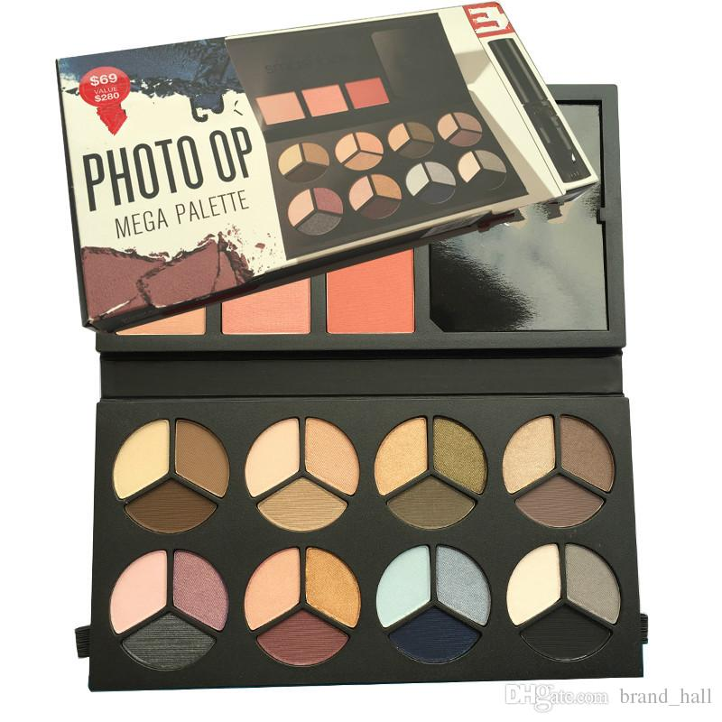 Top quality Smashboxes PHOTO OP MEGA PALETTE eyeshadow palette with brush and mascara makeup set highligter 24 colors eyeshadow palette