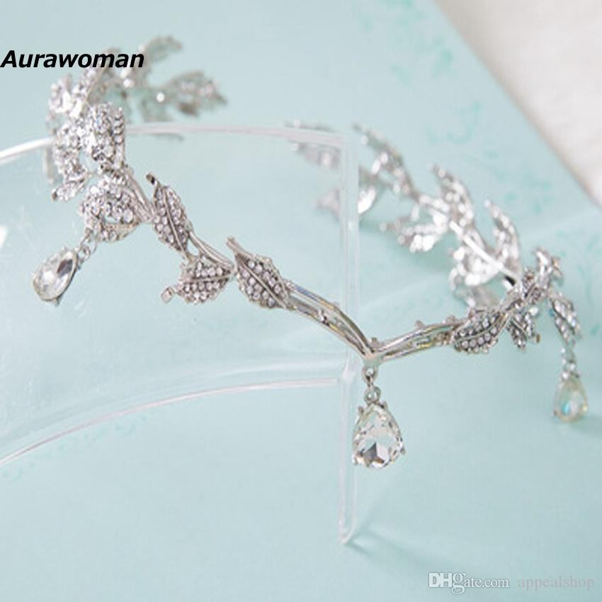 Crystal Bride Headpiece Chain Wedding Hairband Rhinestone Leaf Tiara Crown Bridal Headband Frontlet Hair Jewelry Wedding Hair Accessories