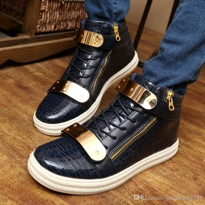 15cd3675051 2017 design Men casual Sneakers Fashion High Top Casual Men flat Shoes Men  s Brand Sneakers Crocodile Pattern Zipper Metal Buckle Strap