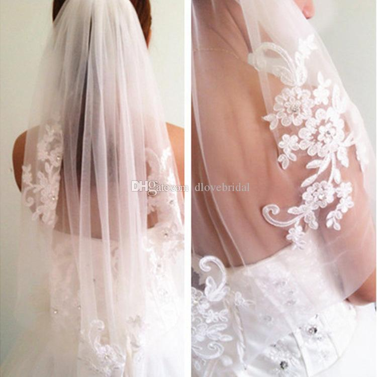 Hot Sell Diamond Veils Short Designer Single Cut Applique Crystal Elbow Length One Layer Wedding Veil With Comb High Quality