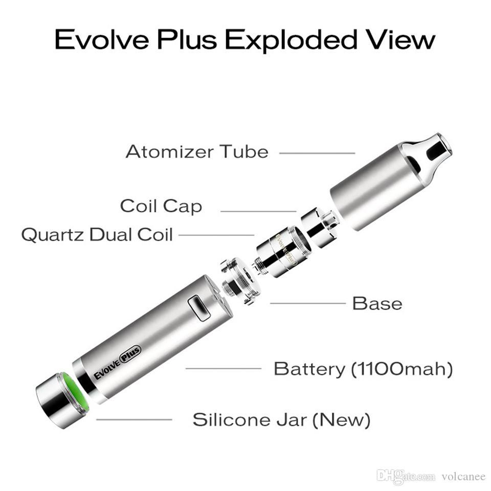 2017 nouveau Authentique Yocan Evolve Plus Kit vaporisateur à base de plantes 1100 mAh Batterie E Cigarettes Quartz Dual Coil Cire Vaporisateur Stylo Kits Couleurs