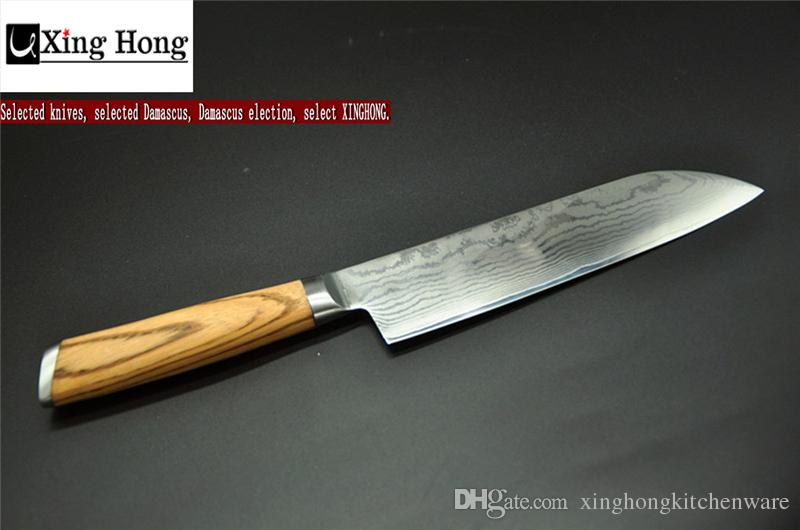 Xinghong 7 Inch Japan Chef Knife Damascus Chef Knife Japanese Vg10 Damascus  Steel Santoku Knife Zebrawood Hard Wood Handle Gift For Family Kitchen  Knives ...