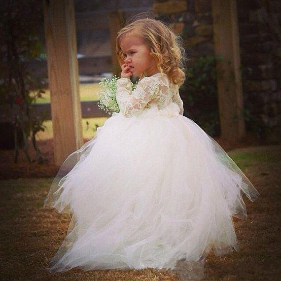 a7db98caf Puffy White Lace Ball Gowns Flower Girls Dresses Jewel Long Sleeves ...