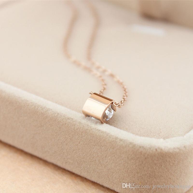 여성 결혼 선물 보석 PS5032 슈퍼 귀여운 행운의 하나 개의 큰 정사각형 다이아몬드 316L 티타늄 스틸 최고의 가격 펜던트 목걸이