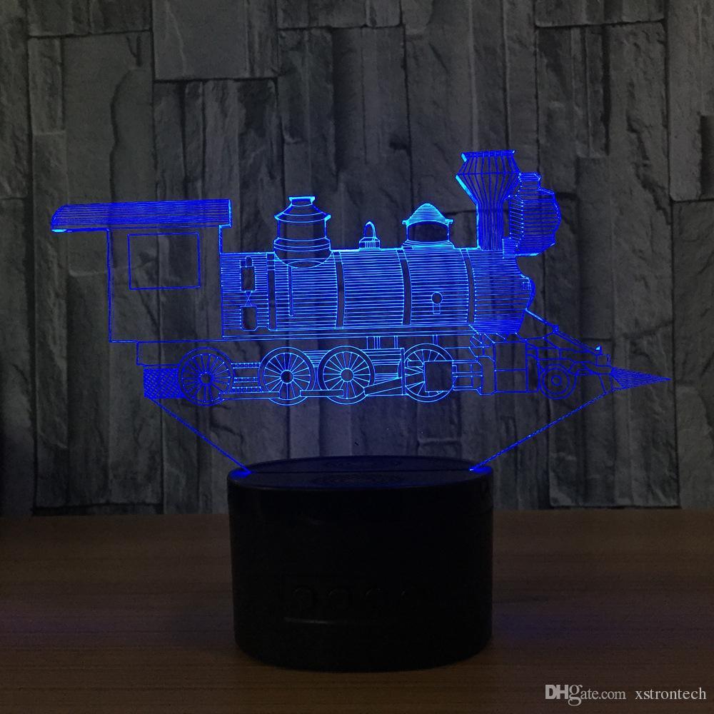 3D Train LED Illusion Lamp Night Light 7 RGB Lights DC 5V USB Powered AA Battery Bin Dropshipping Gift Box