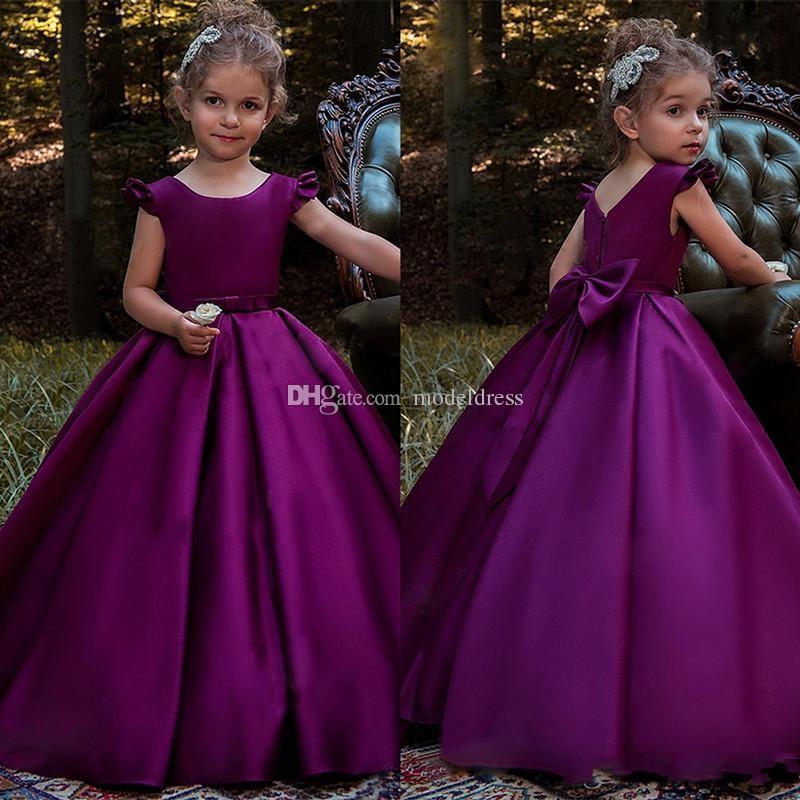Compre Nueva Princesa Vestidos De Niña De Las Flores Púrpura Para ...