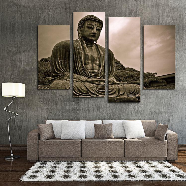 Framelessoil Paintings Canvas Colorful Buddha Sitting Wall: 2019 HD Print Religious Buddha Painting Modern Home Decor