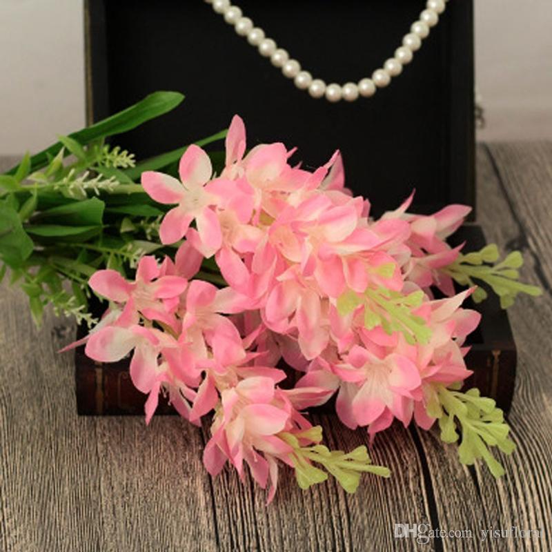 UBIZ 5 branches Latex flower eternal Hyacinth organza flower silk flower centerpieces decoracion bodas ramo flores artificial flores seda